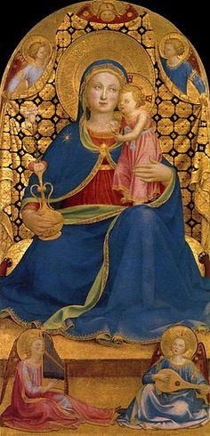 Madonna dell'Umiltà (Madonna of Humility) Fra Angelico,1433-1435,  Musée national d'art de Catalogne, Barcelone (Espagne)