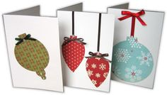 use kid's art work to cut out and collage for Ornament Christmas Cards