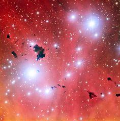 El Very Large Telescope obtiene una instantánea de una guardería estelar y celebra sus quince años en funcionamiento.  Esta impactante nueva imagen de la espectacular guardería estelar IC 2944 se hace pública para celebrar un hito: el 15 cumpleaños del Very Large Telescope de ESO. Esta imagen muestra un grupo grumos oscuros de polvo conocidos como glóbulos de Thackeray, silueteados contra el brillante gas rosado de la nebulosa. Estos glóbulos están siendo bombardeados violentamente por la…