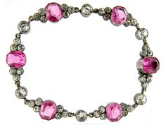 Edwardian Silver Pink & White Paste Bracelet - The Antique Jewellery Company