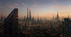 Amazing art by Dylan Cole Fantasy Warrior, Sci Fi Fantasy, Sci Fi City, Dylan And Cole, Advanced Photoshop, Digital Art Gallery, Futuristic City, Futuristic Architecture, Dark City