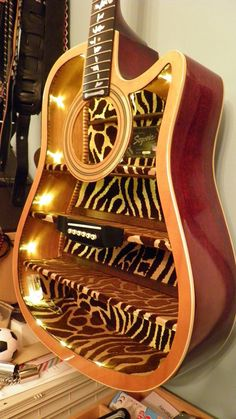 Unusual guitar gift. Musical themed furniture by UpcycledGuitars