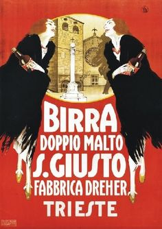 Artist Unknown vintage poster: Birra Doppio Malto S. Vintage Italian Posters, Vintage Advertising Posters, Poster Vintage, Vintage Travel Posters, Vintage Advertisements, Beer Poster, Poster Ads, Vintage Labels, Vintage Ads