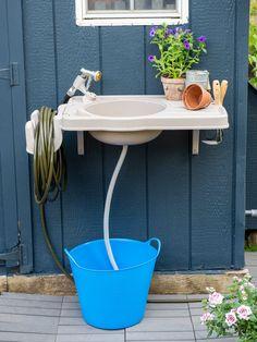 Outdoor Garden Sink, Outdoor Sinks, Outdoor Gardens, Outdoor Showers, Potting Bench With Sink, Potting Tables, Outside Sink, Potting Station, Outdoor Toilet
