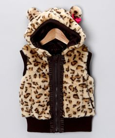 Leopard Faux Fur Hooded #Vest on #zulily today!