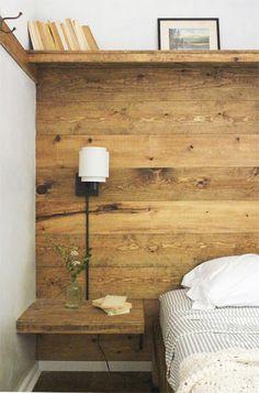 table de chevet integree dans la tete de lit