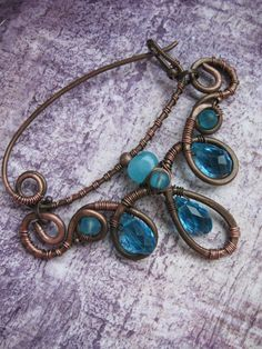 Shawl Pin -Scarf Sweater Pin - Sea Blue - Artisan Copper Shawl Pin - Wire Wrapped Shawl Pin Brooch - Handmade Wire Wrapped Jewelry