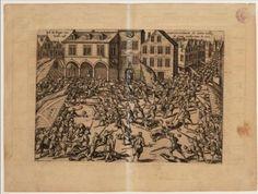 Verrassingsaanval van de opstandelingen in november 1577 op de Plaetse, de huidige Dam van Amsterdam.