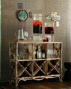 rustic bar and linen wall