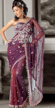 $231.04 Purple Net Stone Work Wedding Saree 23906