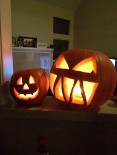 Halloween: Mr Evil and Little Friendly Pumpkin.
