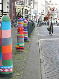 """Urban Knitting"" - Yes, I know it's artsy but WHY? All that time, effort & wool could have gone into a sensible cardigan and some socks!! ~ KJ"