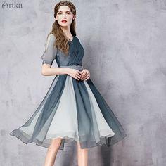 Отрезное по талии платье комбинированной расцветки, 529718526872 купить за 7560 руб. с доставкой по России, Украине, Беларуси и миру | Платья | Artka: интернет-магазин обуви и одежды Artka