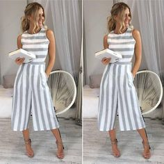 Classy Casual Calf-Length Striped Loose Jumpsuit - May 11 2019 at Jumpsuits For Girls, Long Jumpsuits, Rompers Women, Evening Jumpsuits, Womens Jumpsuits, Fashion Jumpsuits, Asos Jumpsuit, Striped Jumpsuit, Jumpsuit Shorts