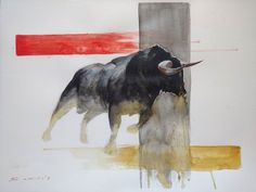 watercolor painting - bull Watercolor Paintings, Moose Art, Animals, Instagram, Idea Paint, Animales, Water Colors, Animaux, Animal