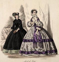 Civil War era fashion plate. Corriere delle Dame, August 1860 | In the Swan's Shadow