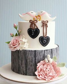 Rustic engagement Cake / cupcake / Cookies by asli - Tortendeko - Wedding Cake Rustic, Rustic Cake, Beautiful Wedding Cakes, Gorgeous Cakes, Pretty Cakes, Cute Cakes, Cake Wedding, Wedding Cupcakes, Dress Wedding