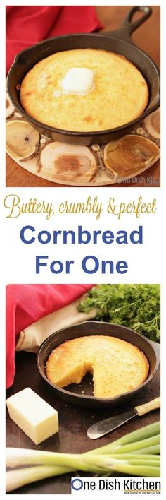 This classic, buttery and sweet Cornbread For One can be made in a small cast iron skillet or mini baking dish. It's the perfect size if you're cooking for one.   onedishkitchen.com Easy Cornbread Recipe, Sweet Cornbread, Cooking For One, Batch Cooking, Fun Cooking, Healthy Cooking, Healthy Food, Mug Recipes, Cooking Recipes