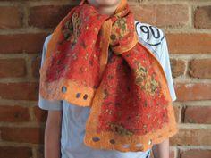 Teddy Bear nuno felted red orange shawl wrap scarf by feltinga, $29.90