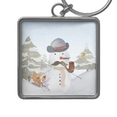 Snowman and Winter Woodland Friends Keychain - christmas keychains family merry xmas personalize gift idea