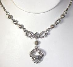 Crystal and Swarovski pearl Art deco style bridal necklace  - Vintage style wedding jewelry, Rhinestone bridal accessories, crystal jewelry. £40.00, via Etsy.