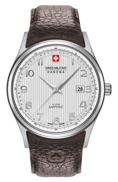 Swiss Military Hanowa Horloge 'Navalus' 06-4286.04.001. Prachtig en stoer horloge met een zilverkleurige/beige fijnbewerkte wijzerplaat en en zilverkleurige kast. De diameter van de kast bedraagt 42 mm en het horloge is 11 mm dik! Dit mooie horloge heeft een bruine leren band en is tot 100 meter waterdicht. https://www.timefortrends.nl/horloges/swiss-military-hanowa.html