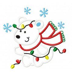 Christmas Polar Bear Applique Design