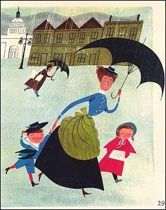 Vintage 1950's Nanny with Children Under Umbrella in the Rain Illustration Print, the Provensens. $11.50, via Etsy.