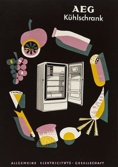 Poster for AEG refrigerator, 1950s. Unknown artist. Germany