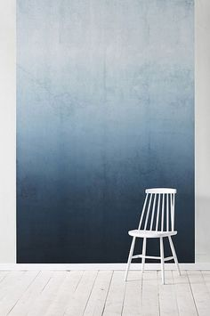 This spectacular blue ombre wall is from The Style Files — perfectly matched with a white chair. Interior Exterior, Interior Architecture, Interior Design, Installation Architecture, Interior Paint, Bathroom Interior, Diy Design, Blue Ombre, White Ombre