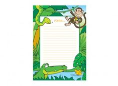 Jungle lined writing paper template ichild