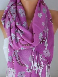 Pink Paisley Scarf Fall Winter Accessories Oversize by fatwoman