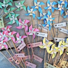 Handmade windmill favours to order in any colour from Coastalcreatives