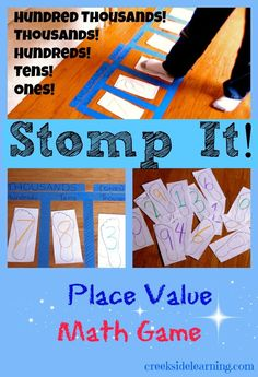 Stomp It! Place value game: I love to use the floor for math activities to add motor activity! stomp it! place value math game - great way to get the kids up and moving! Math Strategies, Math Resources, Math Activities, Subtraction Activities, Teaching Place Values, Teaching Math, Learning Place, Kinesthetic Learning, Math For Kids