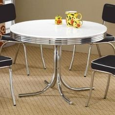 Round Retro Dining Table Coaster Furniture in Dining Tables. This Retro Dining Room Collection by Coaster Furniture display distinctive styling. The round table features a white finish and chrome rimmed top. Retro Kitchen Tables, Retro Dining Rooms, Retro Dining Table, Round Kitchen, Round Dining Table, Vintage Kitchen, Kitchen White, Kitchen Dining, Dining Sets