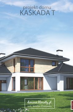 """Projekt nowoczesnego domu piętrowego """"Kaskada T"""". Sylwetka budynku skomponowana jest z trzech przenikających się brył. Główna, piętrowa część zawiera podstawowe pomieszczenia mieszkalne. Otaczające ją parterowe skrzydła mieszczą dodatkowe pokoje z jednej strony, a z drugiej pomieszczenia gospodarcze. Całość uzupełniają praktyczne podcienia i zadaszenia tarasów. Wnętrze domu zwraca uwagę naprawdę dużym salonem połączonym z jadalnią, usytuowanymi wzdłuż przeszklonej witryny z widokiem na…"""