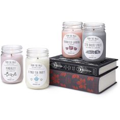 Callie Meaney Literary Candles ($16) ❤ liked on Polyvore featuring home, home decor, candles & candleholders, scented candles, jasmine candle, lavender scented candles, rose scented candles and lilac scented candles