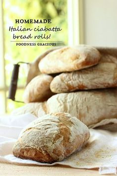 Now you can make your own traditional Italian ciabatta bread rolls! These rolls are chewy and crusty with the perfect airy texture inside!
