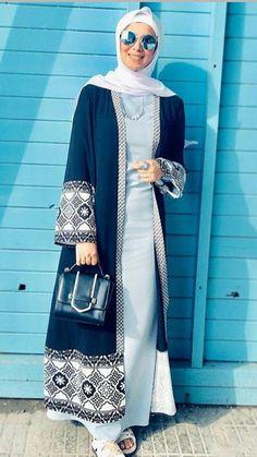 Classic A-line long dress (might be sleeveless) along with Poplook™ cardigan. Abaya Fashion, Muslim Fashion, Modest Fashion, Fashion Dresses, Stylish Clothes For Women, Stylish Dresses, Islamic Women's Clothing, Abaya Designs Latest, Long Shirt Outfits