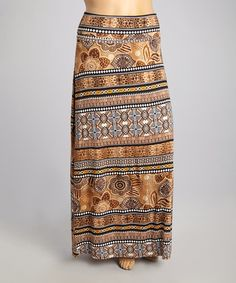 Love this Taupe Geometric Floral Maxi Skirt - Plus on #zulily! #zulilyfinds