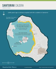 Santorini Maps - Updated for 2020 Santorini Map, Santorini Beaches, Santorini Caldera, Greece Travel, Greece Trip, Hot Springs, Volcano, Island, Maps