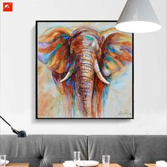 1 Panel Unframed Modern Wildlife Colorful Elephant Wall Canvas Art