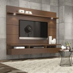 Manhattan Comfort Cabrini Theater Entertainment Center Panel in Nut Brown-Hosting the Super Bowl? Enjoying a quiet intimate evening at home? Your TV has never looked better mounted on the Cabrini Theater Panel. Simply attach it to the panel using Home Entertainment Centers, Floating Entertainment Center, Entertainment Products, Tv Unit Design, Tv Wall Design, House Design, Screen Design, Wall Panel Design, Design Shop