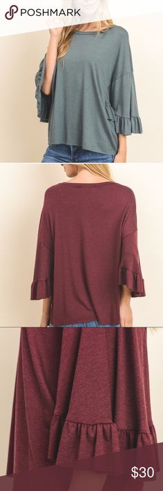 Boat Neck Top UPCOMING ARRIVALS!! 🦋   🍀Hunter Green Boat Neck Top🍀  *Solid color fashion top with long sleeves and ruffle details  *71% RAYON 24% POLYESTER 5% SPAN *Comes in small, medium, and large (fits: true to size) Sweet Threads Boutique Tops Blouses