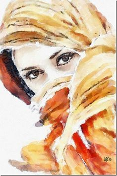 Watercolor woman in veil