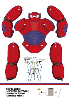 Jumping Jack patterns for Baymax, from Big Hero 6.