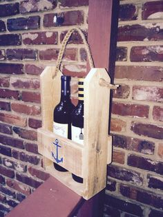 rustic wine caddy, wine carrier, wine holder, wood wine caddy,  bridesmaid gift, wedding party gift, hand painted anchor, beach gift by OniontownRepurposed on Etsy