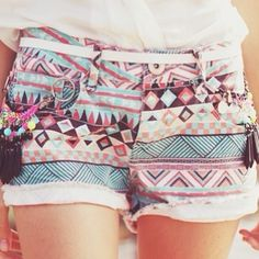 tribal print shorts.
