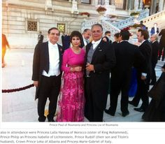 Marriage of Prince Mohammed Ali and Princess Noal:   On 8.29.2013 married in a private ceremony at the home of Princess Tilsim of Liechtenstein (distant member of the Egyptian royal house).    Shown: Prince Paul and Princess Lia of Roumania His mother, Princess Tilsim, Princess Lalla Hasnaa of Morocco (sister of King Mohammed), Prince Philip and Princess Isabelle of Lichtenstein, Prince Rudolf, (their son and Tilsim's husband), Crown Prince Leka of Albania,Prncess Marie-Gabriel of Italy.