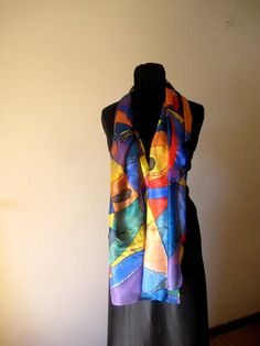 scarf of colorful strokes by InSetArte on Etsy